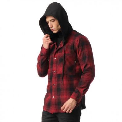 Мъжки кариран суичър-риза с качулка tr131120-7 5
