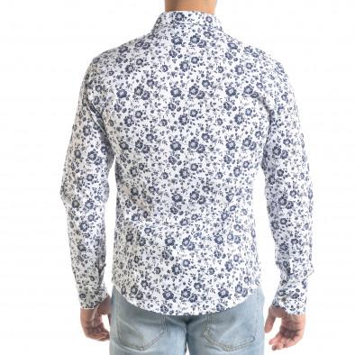 Slim fit бяла мъжка риза флорален десен tr240420-37 3