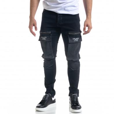 Slim fit мъжки черни дънки с джобове tr110320-114 2