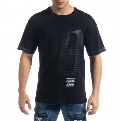 Черна мъжка тениска с принт tr110320-38 2