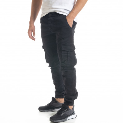 Мъжки черен карго панталон с ластик на крачолите tr240420-30 4