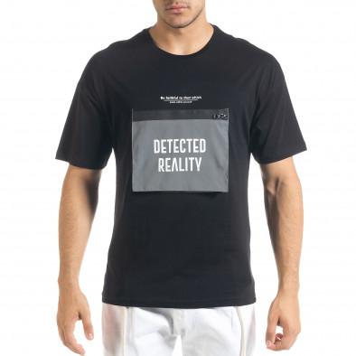 Мъжка черна тениска с джоб tr080520-5 2