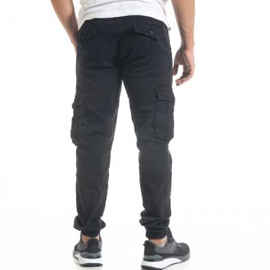 Мъжки черен карго панталон с ластик на крачолите tr240420-30 3