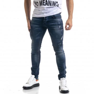 Мъжки сини дънки Slim fit с пръски боя tr110320-109 2