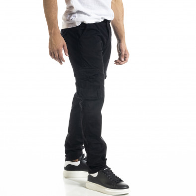 Черен мъжки панталон Cargo с прави крачоли tr240420-27 3