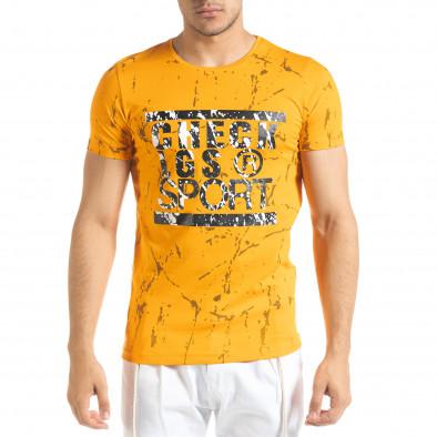 Мъжка оранжева тениска с принт Splash tr080520-20 2