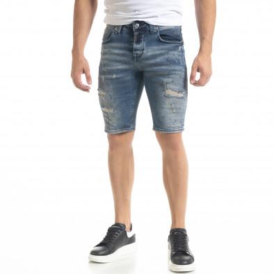 Destroyed Slim fit мъжки къси дънки с пръски боя tr240420-19 3