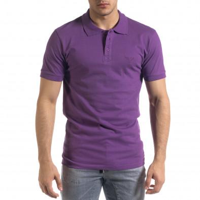 Мъжка тениска пике Polo shirt в лилаво tr110320-16 2