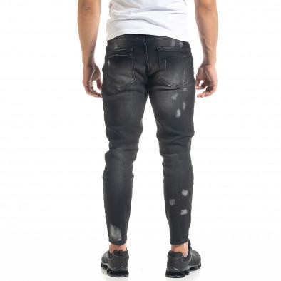 Slim fit мъжки черни дънки Destroyed с кръпки  tr050620-2 4