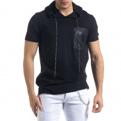 Черна мъжка тениска с джоб и качулка tr110320-62 2