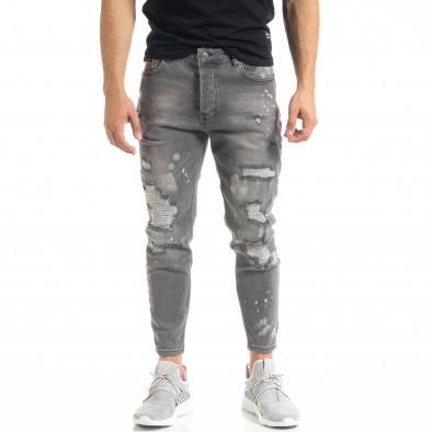 Slim fit мъжки сиви дънки Destroyed с кръпки  tr050620-3 3