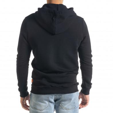 Мъжки черен суичър с гумиран принт tr240420-17 3