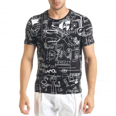 Мъжка черна тениска с принт Naivety tr080520-13 2