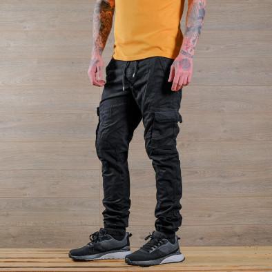 Мъжки черен карго панталон с връзки на кръста tr170320-5 3
