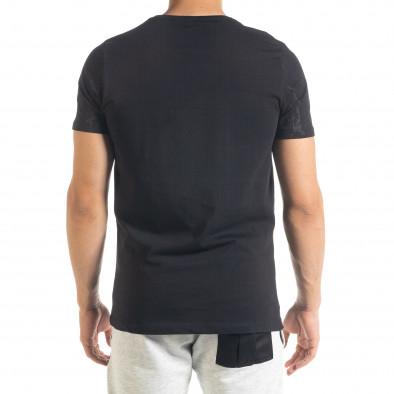 Мъжка черна тениска с принт Splash tr080520-18 3