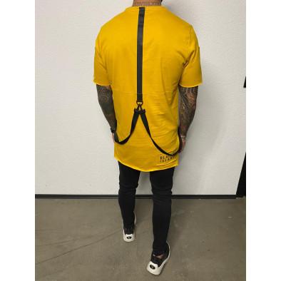 Удължена жълта тениска с акценти tr110320-82 3