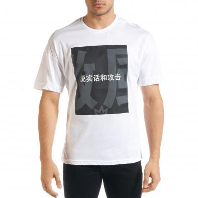 Бяла мъжка тениска с йероглифи tr080520-10 2