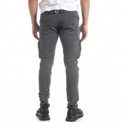 Мъжки карго панталон с прави крачоли в сиво tr240420-26 4