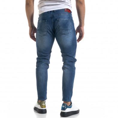 Мъжки сини дънки Slim fit с акценти tr110320-110 3