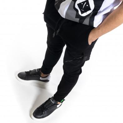 Мъжки черен панталон със затягащи маншети tr110320-128 3