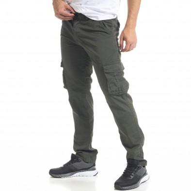 Зелен мъжки панталон Cargo с прави крачоли tr240420-28 3