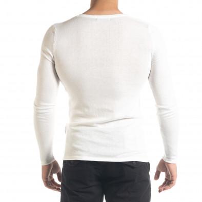 Basic Slim fit мъжка плетена блуза в бяло tr240420-13 3