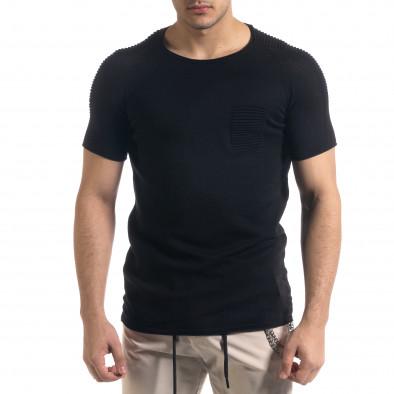 Slim fit черна мъжка плетена блуза Biker tr110320-19 2