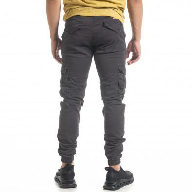 Мъжки сив карго панталон с ластик на крачолите tr240420-31 4