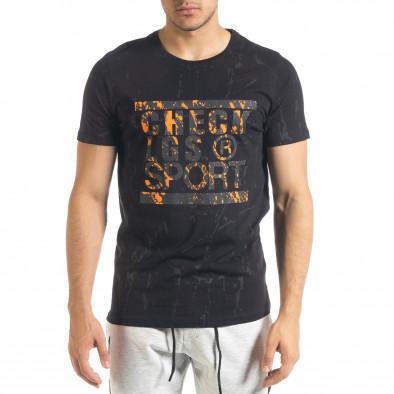 Мъжка черна тениска с принт Splash tr080520-18 2