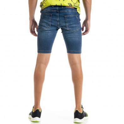 Slim fit мъжки сини къси дънки с прокъсвания tr010720-17 3