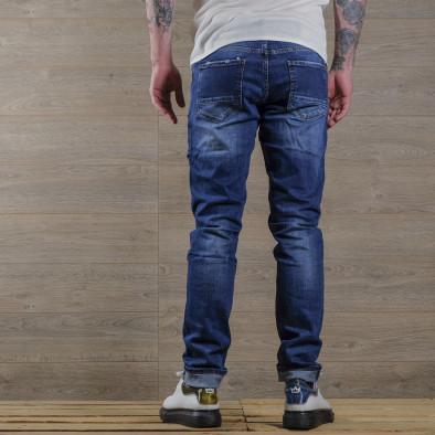 Slim fit мъжки сини дънки с леки прокъсвания tr030420-1 4
