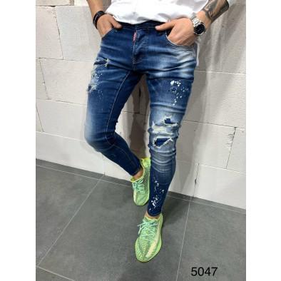 Destroyed Slim fit мъжки сини дънки tr110320-116 2