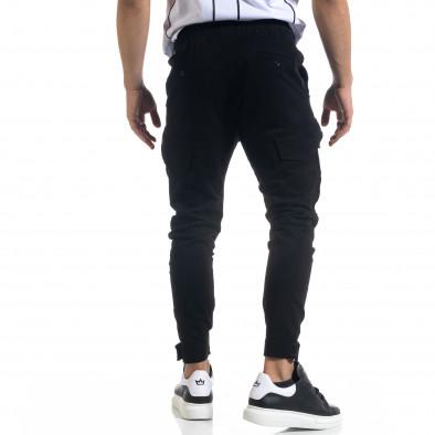 Мъжки черен панталон със затягащи маншети tr110320-128 4