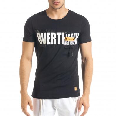 Черна мъжка тениска с прозрачен джоб tr080520-31 2