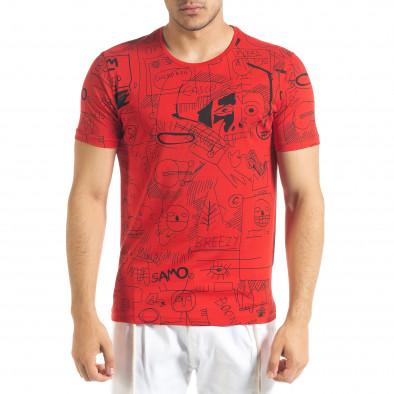 Мъжка червена тениска с принт Naivety tr080520-15 2