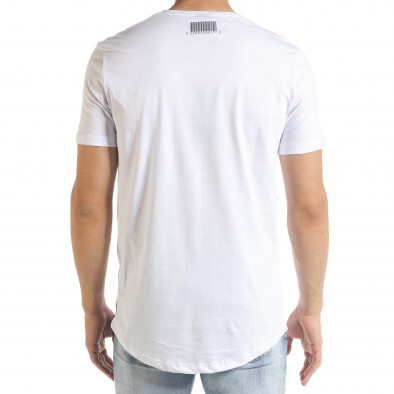 Мъжка бяла тениска с цип и сребрист принт tr080520-2 4