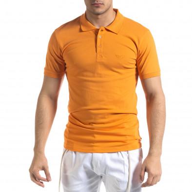 Мъжка тениска пике Polo shirt в оранжево tr110320-15 2