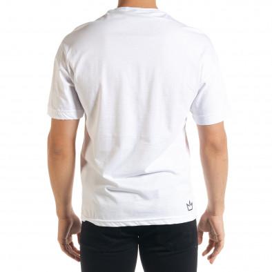 Бяла мъжка тениска с йероглифи tr080520-10 3
