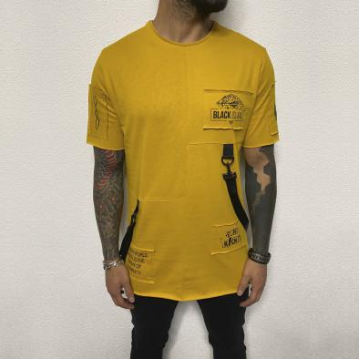 Удължена жълта тениска с акценти tr110320-82 2