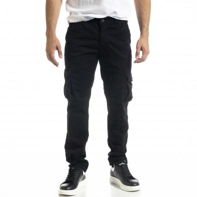 Черен мъжки панталон Cargo с прави крачоли tr240420-27 2