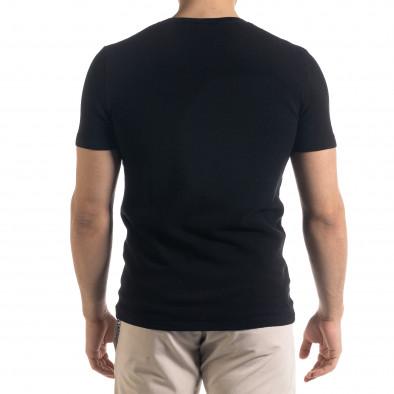 Basic мъжка плетена блуза пике в черно tr110320-58 3
