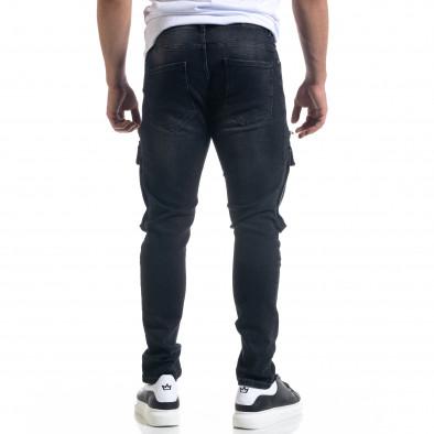 Slim fit мъжки черни дънки с джобове tr110320-114 3