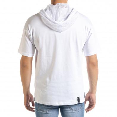Бяла мъжка тениска с принт и качулка tr080520-12 3