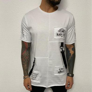 Удължена бяла тениска с акценти tr110320-83 2