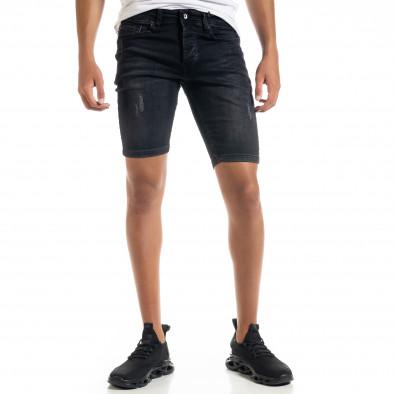 Slim fit мъжки черни къси дънки с прокъсвания tr010720-15 2