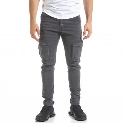 Мъжки карго панталон с прави крачоли в сиво tr240420-26 2