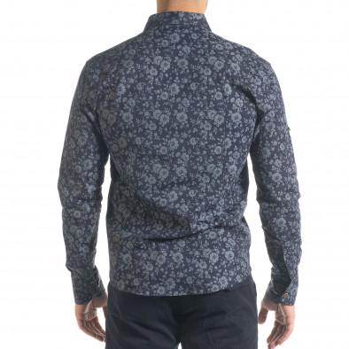 Slim fit синя мъжка риза флорален десен tr240420-36 3
