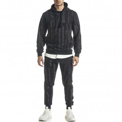 Мъжки памучен черен анцуг с качулка и принт tr240420-18 2