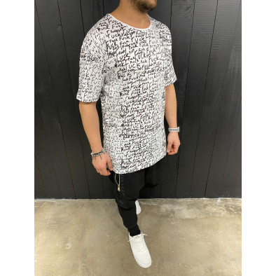 Мъжка бяла тениска с принт tr110320-88 3