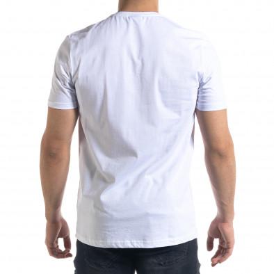 Мъжка бяла тениска с апликация tr110320-35 3